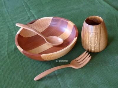 Pack de survie - Vaisselle en bois pour 1 personne - Vaisselle écologique et durable by La Tournerie - SUR COMMANDE