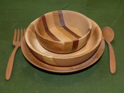 Service de 3 Écuelles - Vaisselle en bois pour 1 personne - Vaisselle écologique et durable by La Tournerie