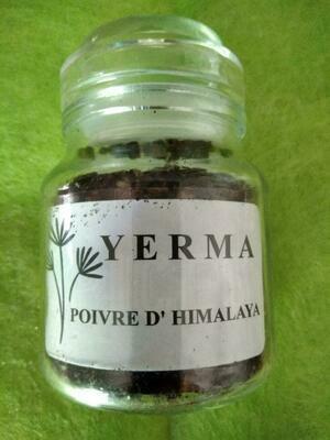 Bocal en verre rechargeable de très belle esthétique. Fermeture garantissant la fraicheur du produit. Poivre YERMA 50g en grains. Prix TTC 9,00 euros + port.