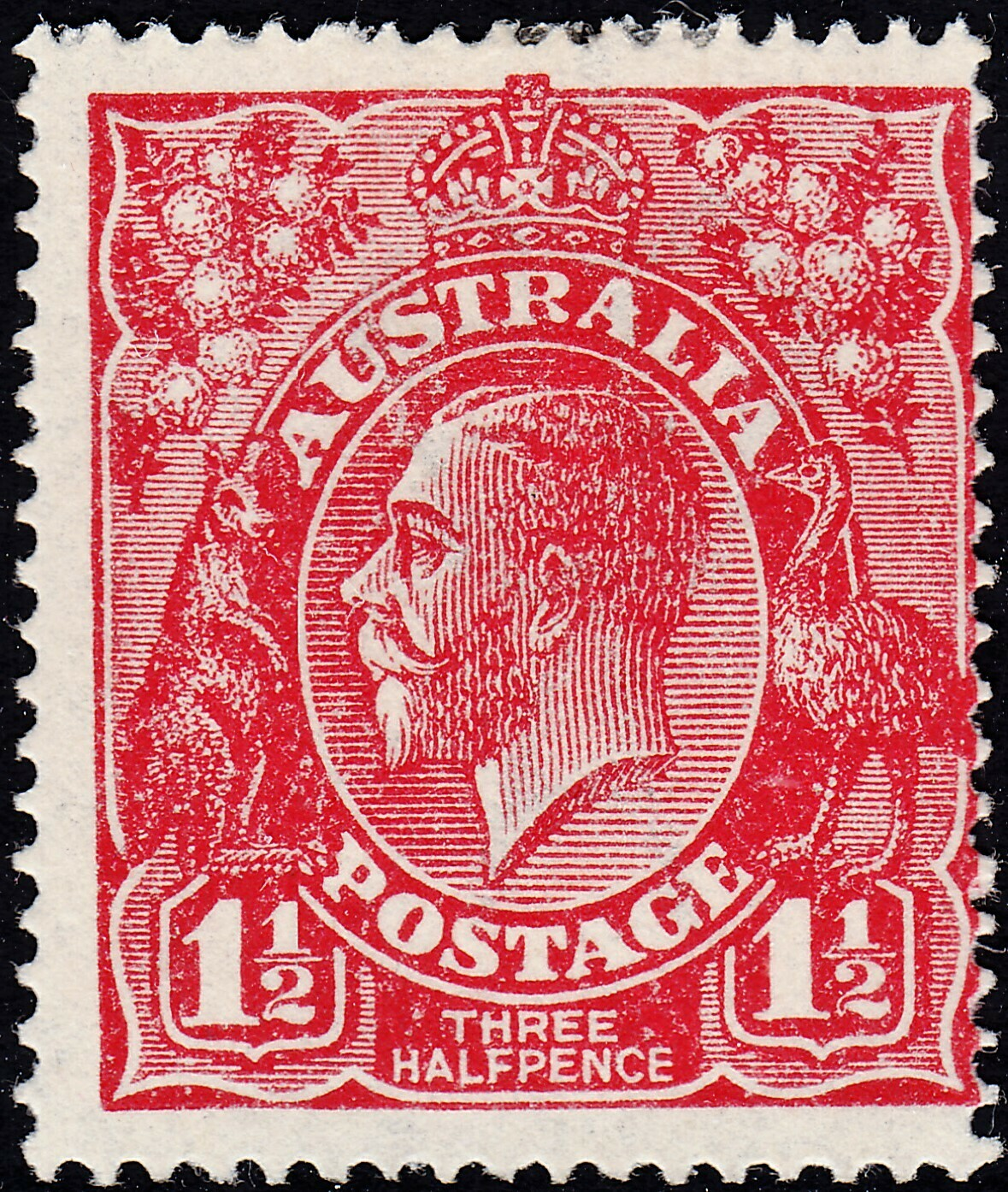 Australia 1925 KGV 1½d Red Single Wmk Variety Thin RAL MH