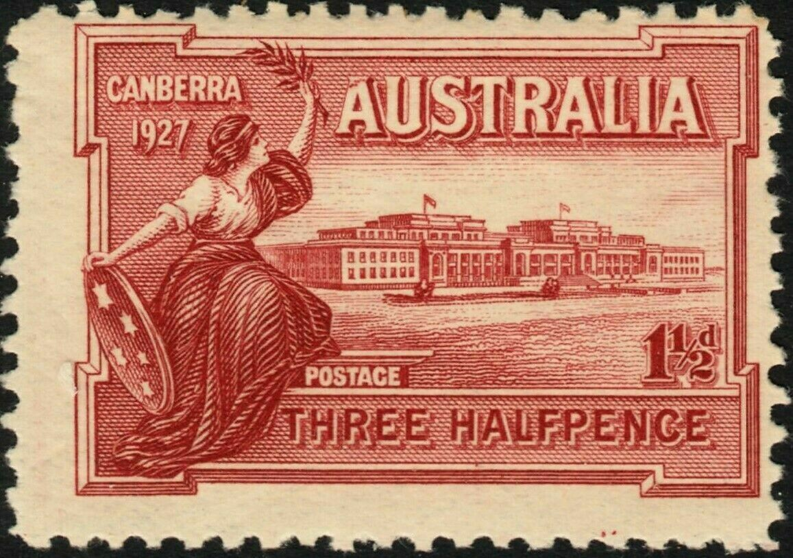 """Australia 1927 1½d Canberra """"Flaw in First A of Australia"""" MUH"""