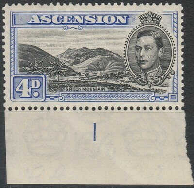 Ascension 1940 KGVI 4d Black & Ultramarine Plate Number Marginal MUH