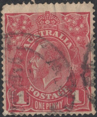 Australia 1914 KGV 1d Red with Wattle Line Variety Used