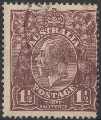 Australia 1920 KGV 1½d Brown with Flaw in Right Wattles Used