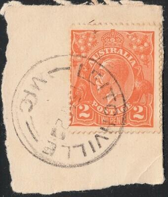 Australia 1920 KGV 2d Orange on Piece with Leitchville Cancel Rated RR