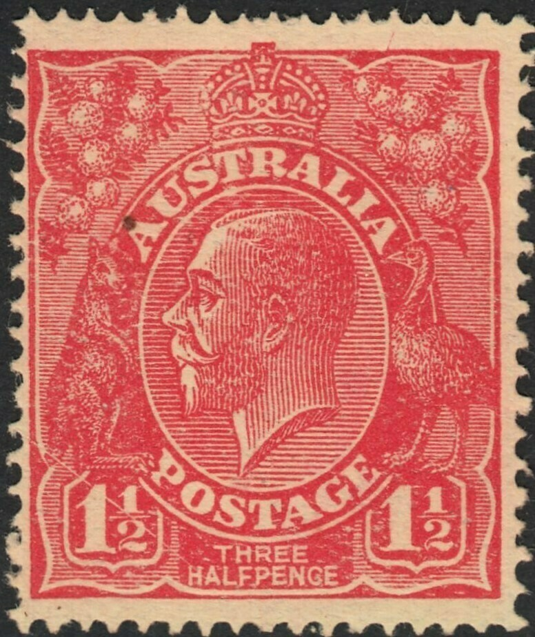 """Australia 1924 KGV 1½d Red with """"Scratched Electro"""" MUH"""