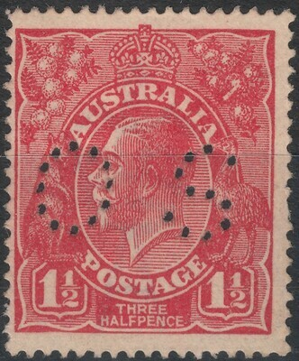 Australia 1925 KGV 1½d Red Perf OS Spear in Right Wattles/Retouched ALIA MUH