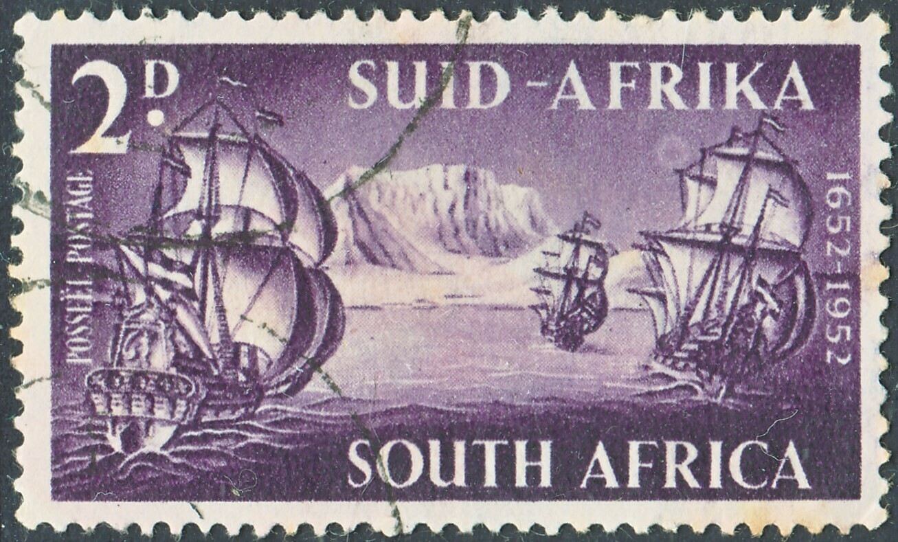 South Africa 1952 2d Van Riebeeck with Full Moon Flaw FU