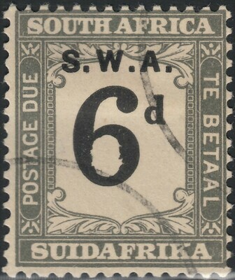 South West Africa 1928 6d Black & Slate Postage Due VFU