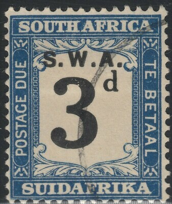 South West Africa 1928 3d Black & Blue Postage Due VFU
