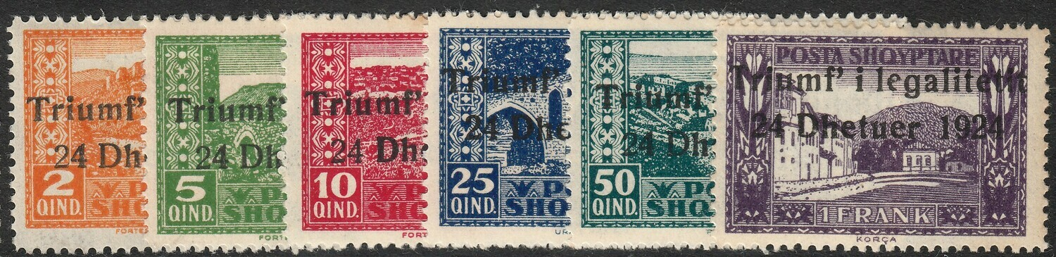 Albania 1924 Return of Government Overprint Part Set MH