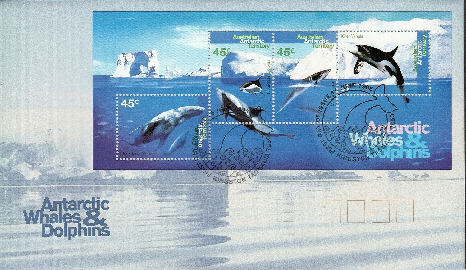 AAT 1995 QEII Whales & Dolphins Miniature Sheet on Unaddressed FDC