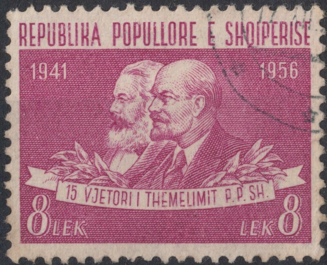 Albania 1956 8l. Purple Marx and Lenin VFU