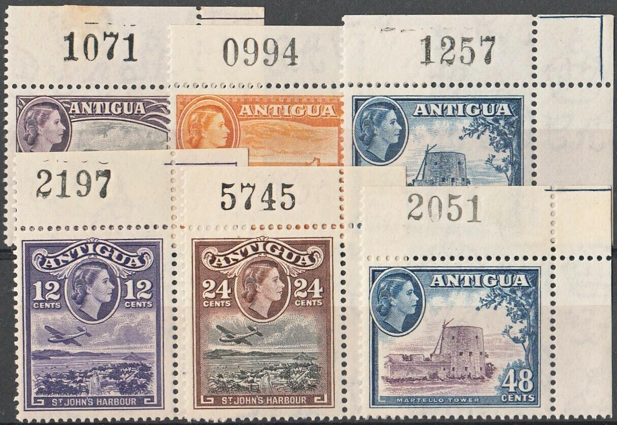 Antigua 1953 QEII Definitives Part Set Marginal Sheet Number Singles MUH