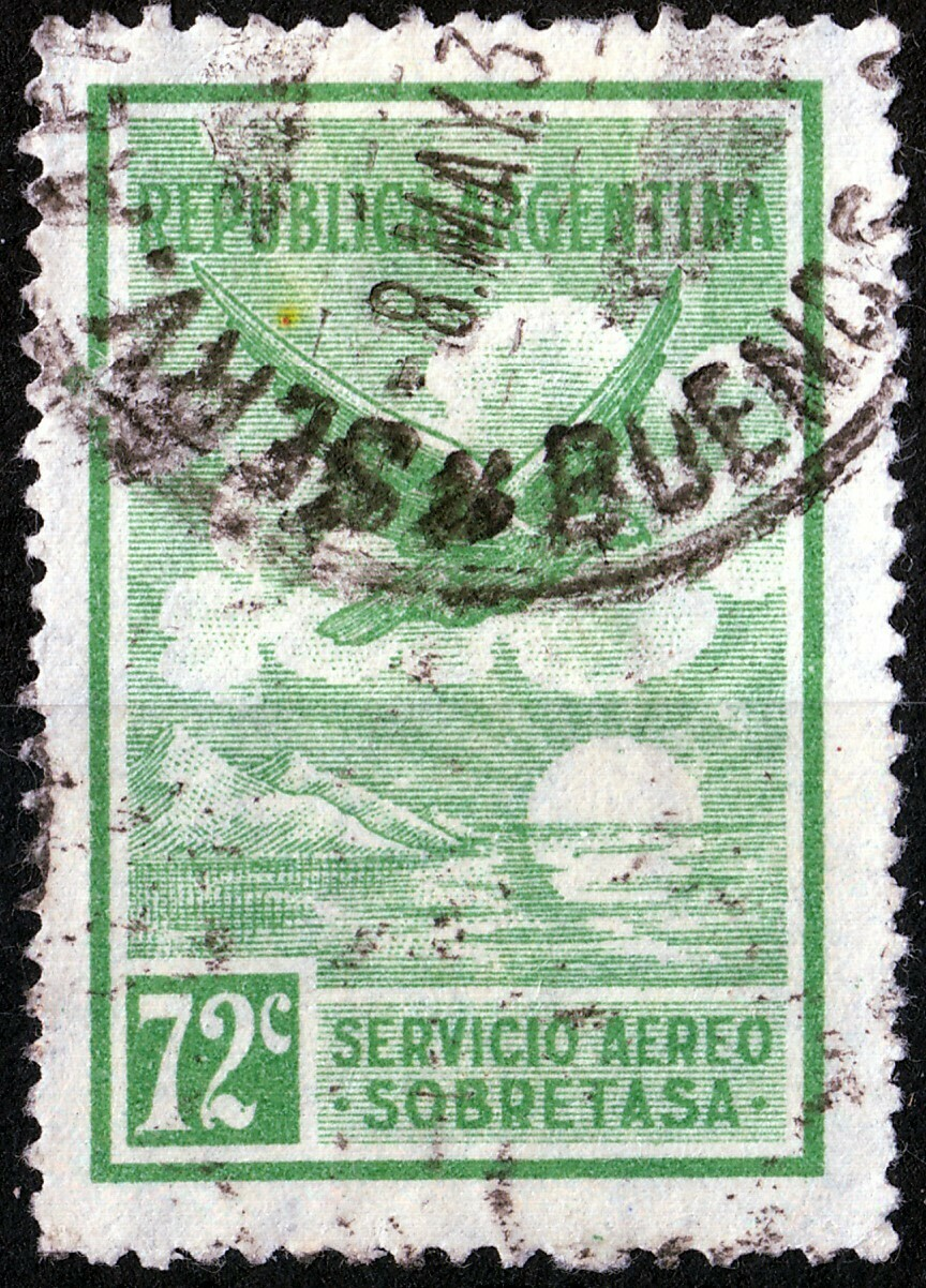 Argentina 1928 72c Green Air Mail Used
