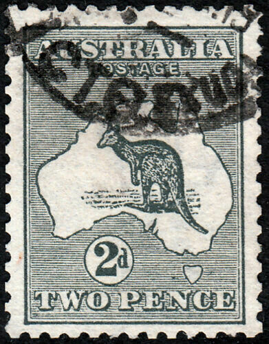 Australia 1913 KGV 2d Grey Kangaroo Used