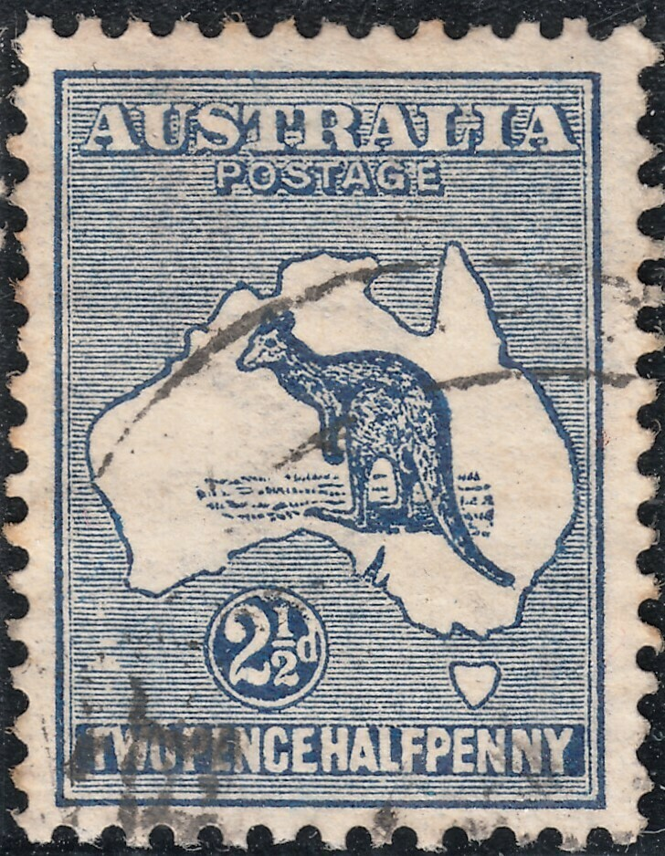Australia 1913 KGV 2½d Indigo Kangaroo with Islands South of WA FU