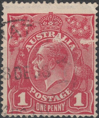 Australia 1914 KGV 1d Red with Superb