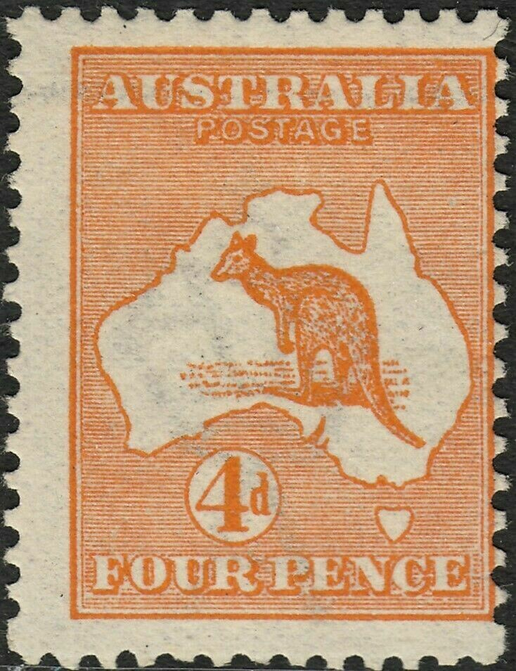 Australia 1913 KGV 4d Orange Kangaroo with Retouched Shading Around IA MH