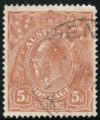 Australia 1915KGV 5d Chestnut with Variety White Flaw in King's Hair VFU