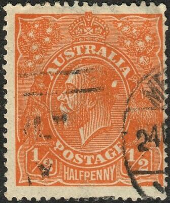 Australia 1918 KGV ½d Orange with Variety Spots on King's Head FU