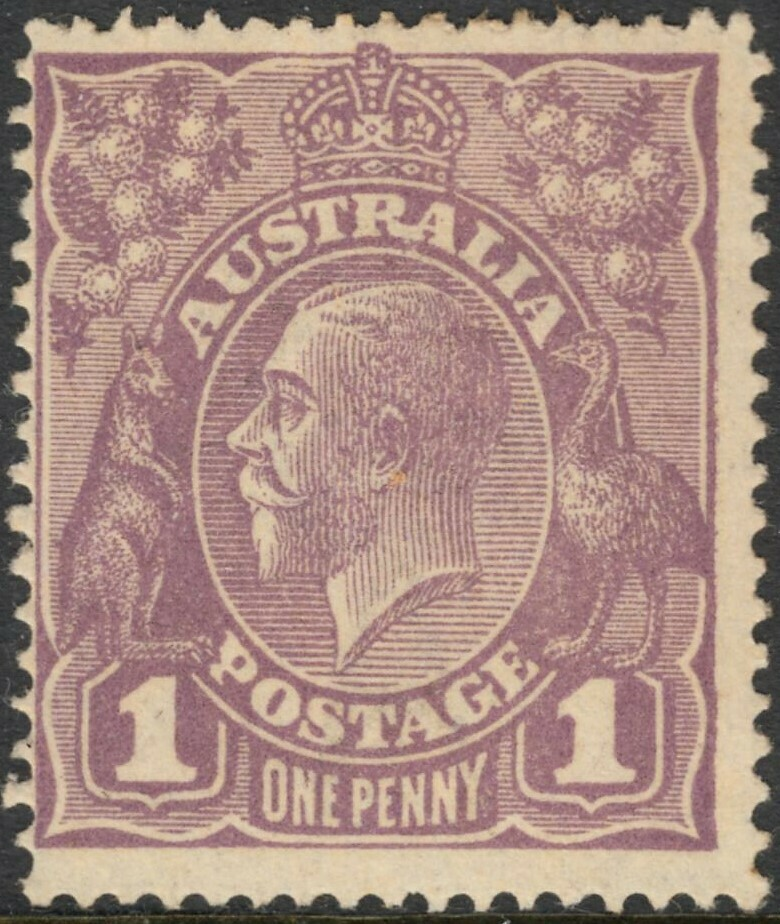 Australia 1922 1d Violet with Variety RA Joined MH