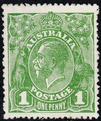 Australia 1924 KGV 1d Green with Wattle Line Variety MUH