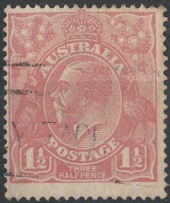 Australia 1924 KGV 1½d Pale Pink Scarce Shade FU