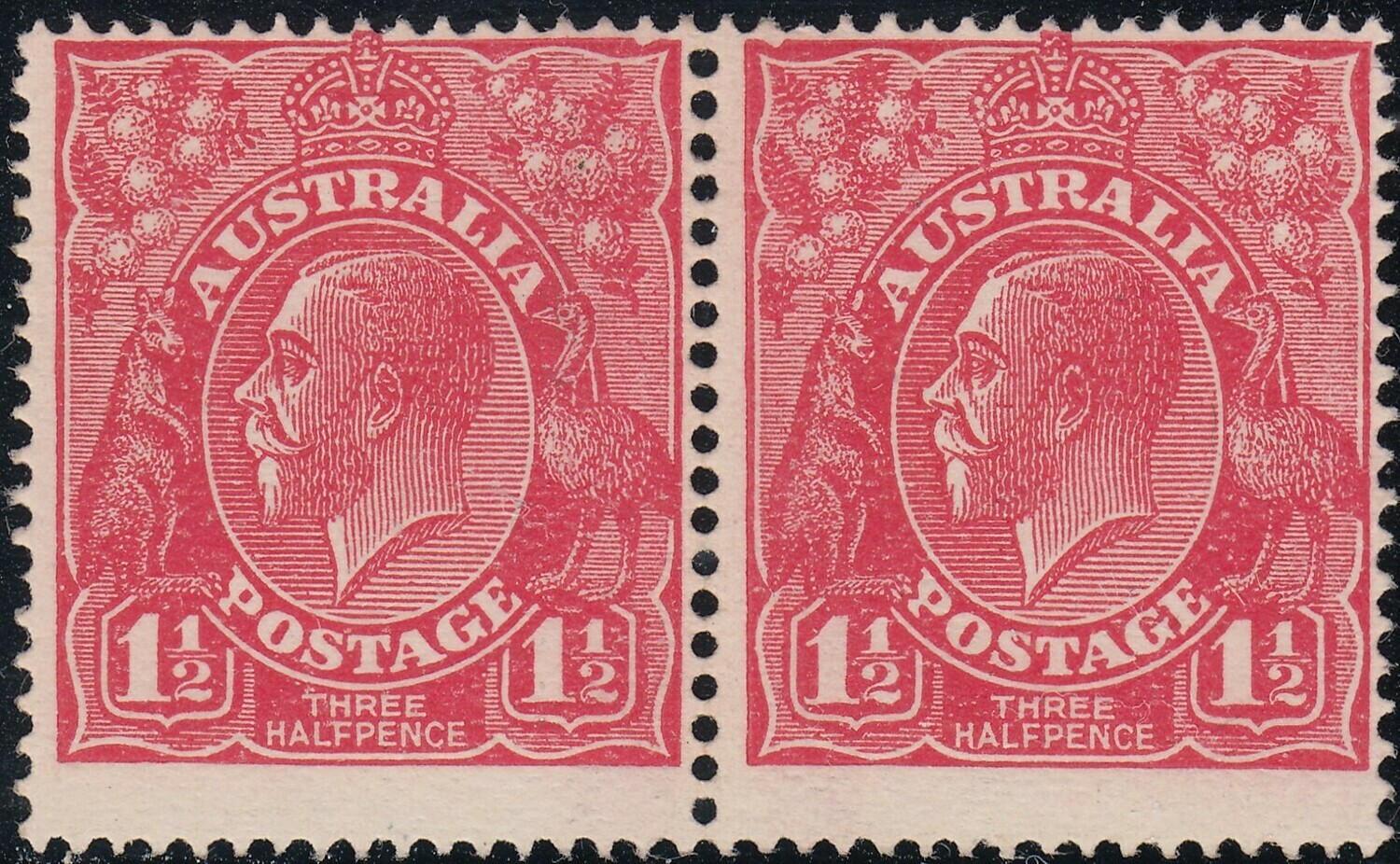 Australia 1924 KGV 1½d Scarlet Pair with Notched Frames Very Scarce MUH