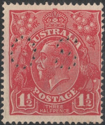 Australia 1924 KGV 1½d Scarlet Perf OS with Variety White Flaw on Emu's Leg MUH