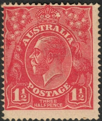 Australia 1924 KGV 1½d Scarlet with