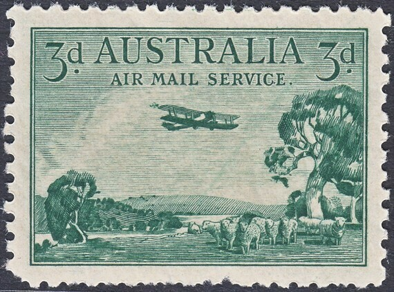"""Australia 1929 KGV 3d Airmail with """"Long Wing"""" Variety MLH"""