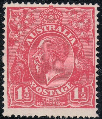 Australia 1924 KGV 1½d Scarlet with Variety Two White Flaws on Roo's Shoulder MH