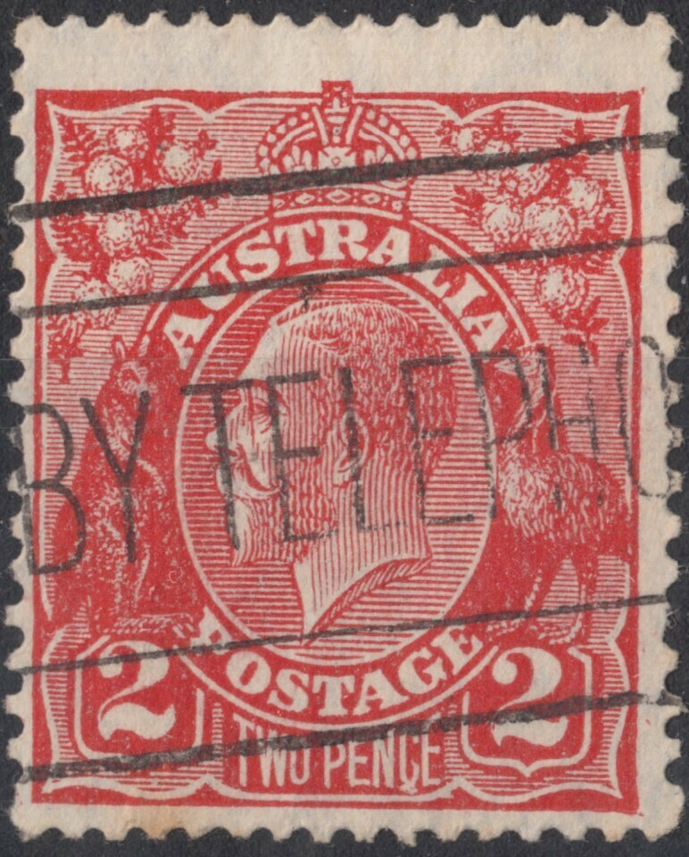 """Australia 1930 KGV 2d Golden Scarlet with """"Flaw on C"""" Variety Used"""