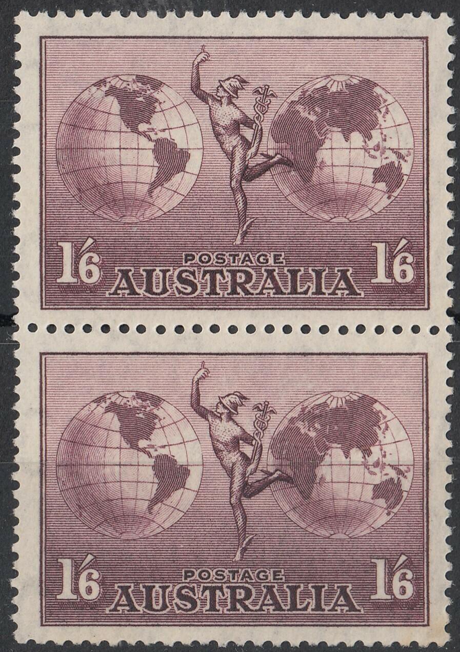 Australia 1937 KGVI 1/6d Hermes Thick Paper Pair MUH