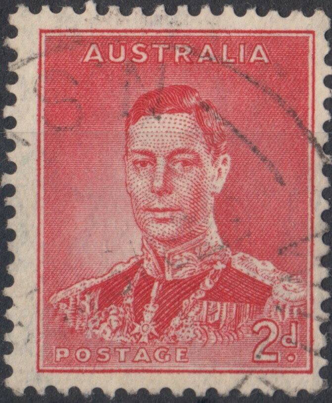 Australia 1937 KGVI 2d Scarlet Die I with Weak Entry Below Postage Variety VFU