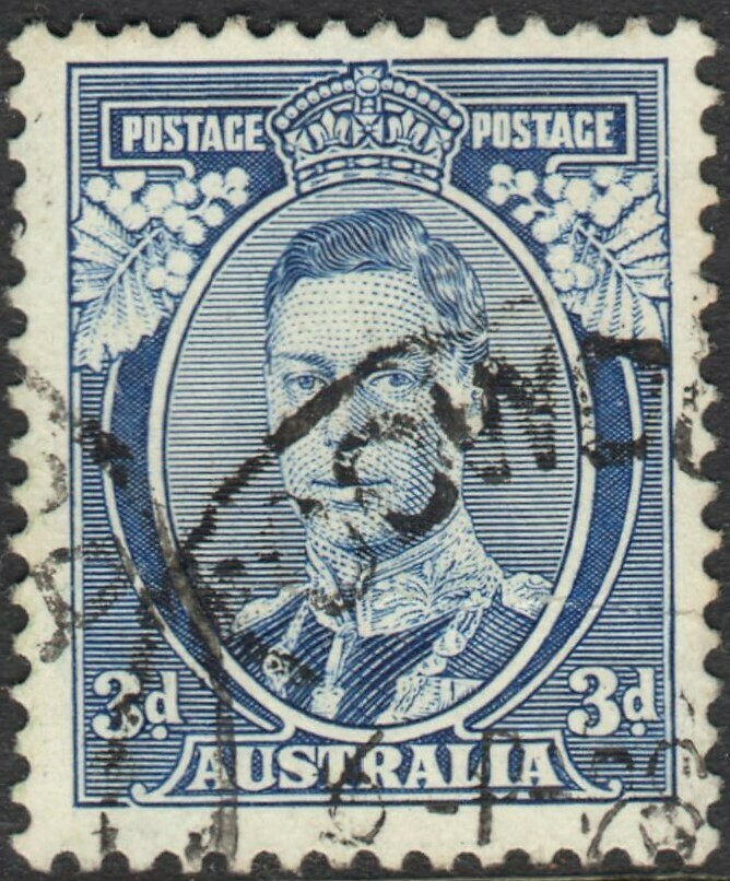 Australia 1937 KGVI 3d White Wattles with Toowoomba Cancel - Creased