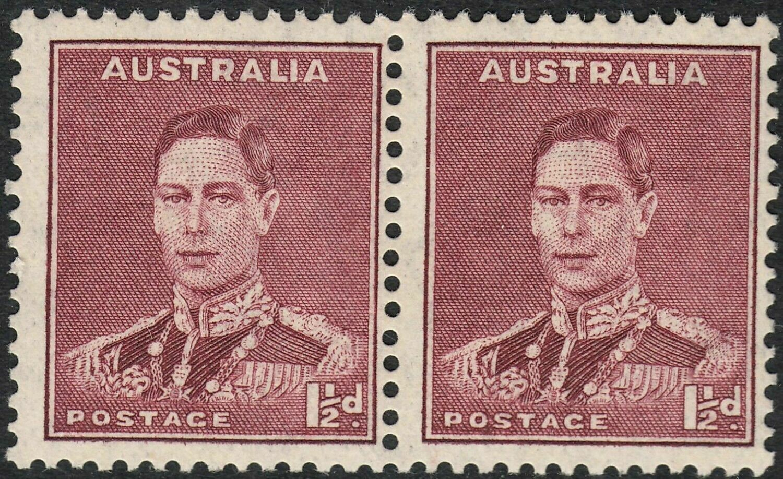 Australia 1938 KGVI 1½d Maroon Pair MUH