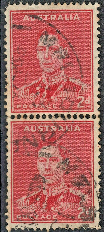 Australia 1938 KGVI 2d Scarlet Coil Join Pair Used