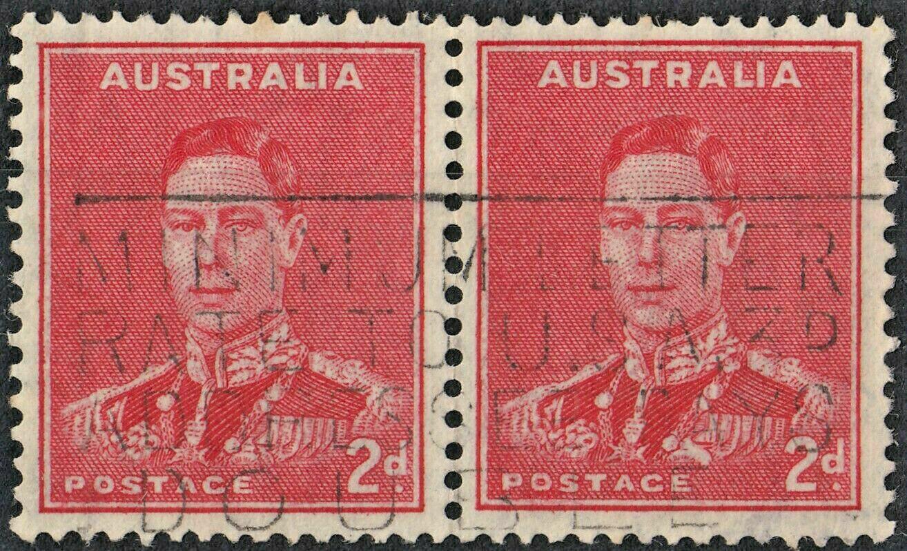 Australia 1938 KGVI 2d Scarlet pair with Medal Flaw Used (2)