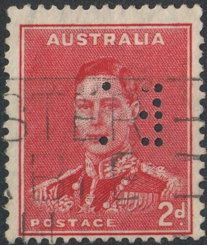 Australia 1938 KGVI 2d Scarlet Perfin with Listed Variety Used