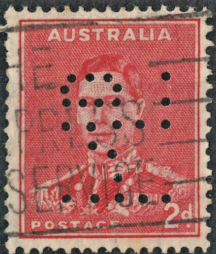 Australia 1938 KGVI 2d Scarlet Perfin with Medal Flaw Used
