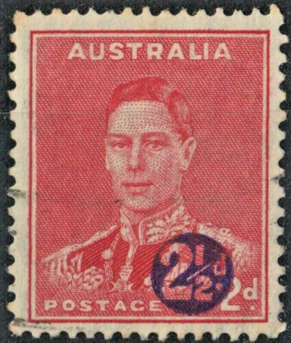Australia 1941 KGVI 2½d on 2d Scarlet with Misplaced Overprint VFU