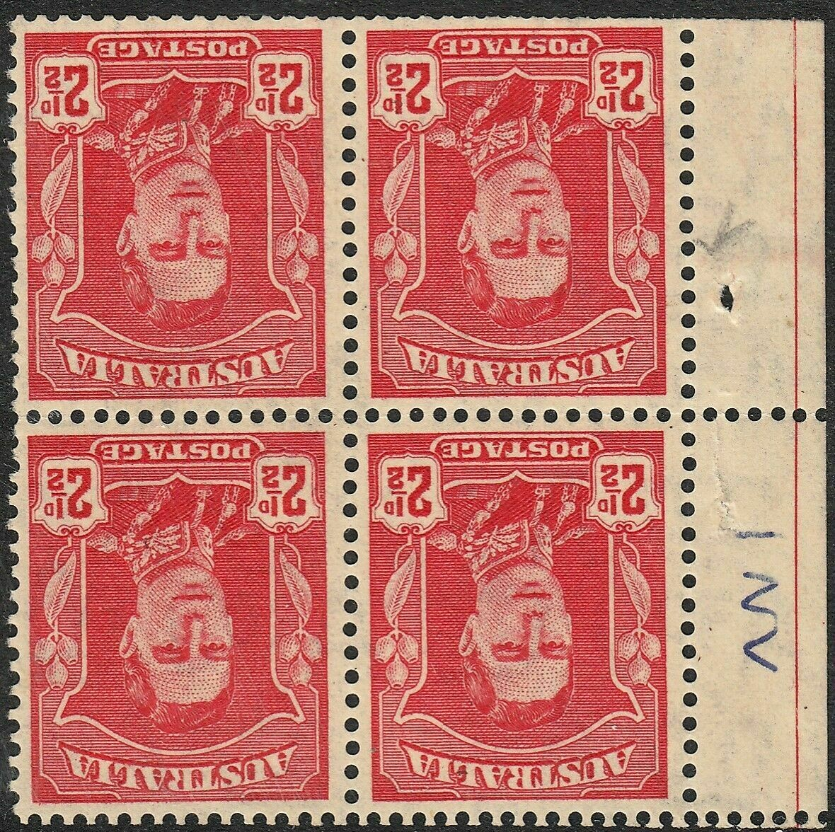 Australia 1942 KGVI 2½d Red Inverted Watermark (Booklet) Block of 4 MUH/MH