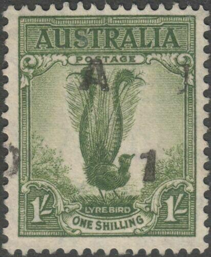 Australia 1941 KGVI 1/- Lyrebird with Roller Flaw Variety FU