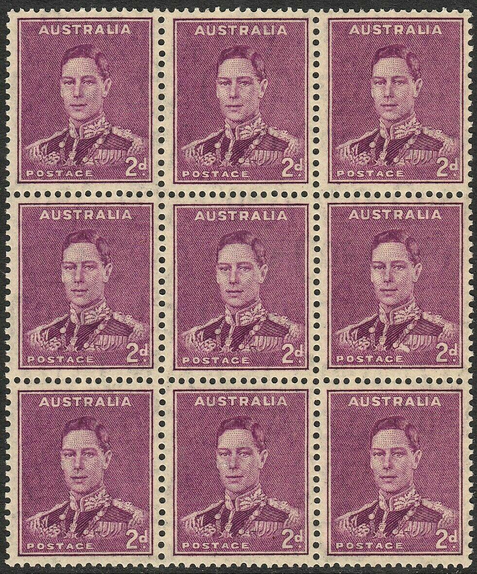 Australia 1941 KGVI 2d Purple Block of 9 with Medal Flaw MUH