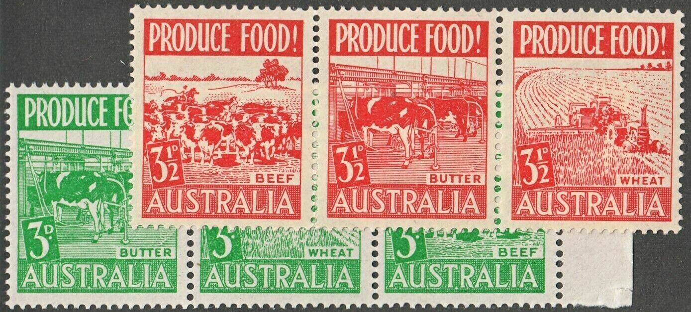Australia 1953 KGVI 3d & 3½d Produce Food Strips of 3 MUH