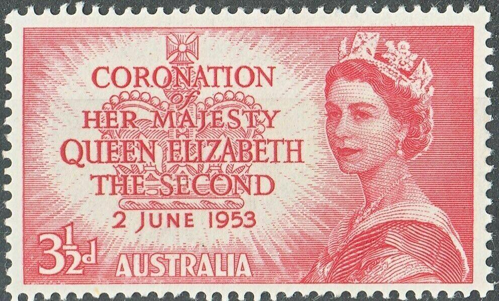 Australia 1953 QEII 3½d Coronation with Weak Entry Around AUSTRALIA MH