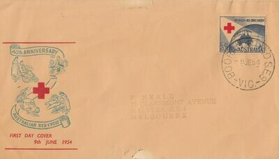 Australia 1954 QEII 3½d Red Cross FDC with  Booran Road SE9 Cancel Rated R