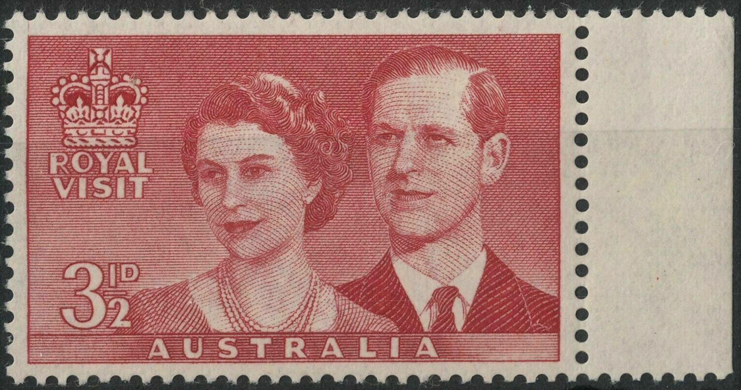 Australia 1954 QEII 3½d Red Royal Visit with Extended Frame and Weak Entry MUH